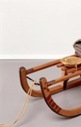 Joseph Beuys, Sled, 1969.  Wooden sled, felt, fabric straps, flashlight, fat, oil paint, string 13 3/4 by 35 7/16 by 13 3/4 in.  34.93 by 90 by 34.93 cm.  Courtesy of Mitchell-Innes & Nash, NY.