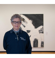 """Louise Fishman with her 1996 oil painting """"Blonde Ambition"""" at Krannert Art Museum, University of Illinois Urbana-Champaign, 2019.  Photo by Julia Nucci Kelly"""