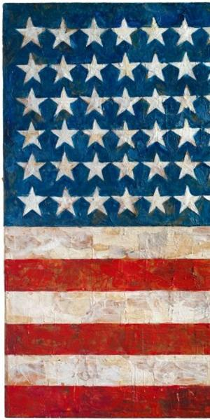 """""""Flag,"""" 1954-55, by Jasper Johns.  Encaustic, oil, and collage on fabric mounted on wood (3 panels), 41.25 X 60.75 in.  (104.8 x 154.3 cm).  The Museum of Modern Art, New York, NY; Gift of Philip Johnson in honor of Alfred H.  Barr, Jr.  © Jasper Johns / Licensed by VAGA at Artists Rights Society (ARS), New York, NY."""