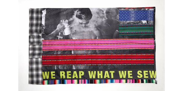 "Gabriella Sanchez is the newest artist participating in Crystal Bridges' artist-designed flag series, with her ""WE REAP WHAT WE SEW"" show here."