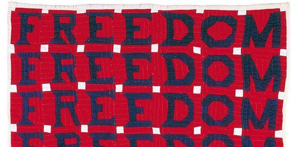 Freedom Quilt; Jessie B.  Telfair (1913–1986); Parrott, Georgia;1983; Cotton, with pencil; 74 x 68 in.; Collection American Folk Art Museum, New York; Gift of Judith Alexander in loving memory of her sister, Rebecca Alexander, 2004.9.1; Photo by Gavin Ashworth
