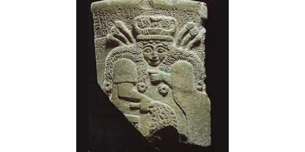 Fragment of a vessel with frontal image of goddess, Mesopotamia, Sumerian Early Dynastic III period, ca.  2400 BC.