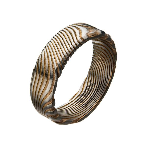 Men's Damascus 7mm Matte Rose Gold Plated Band Ring
