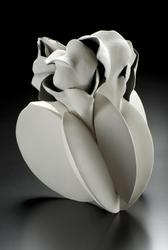 FUJINO SACHIKO (b.  1950) Form 20-3 2020 Stoneware with matte glaze in white and gradations of gray 17 x 15 x 15 5/8 in.