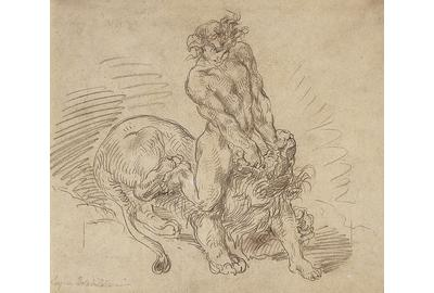 Eugène Delacroix, Hercules Conquering the Nemean Lion, 1849.  Graphite on paper.  Collection of the McNay Art Museum, Bequest of Mrs.  Jerry Lawson.