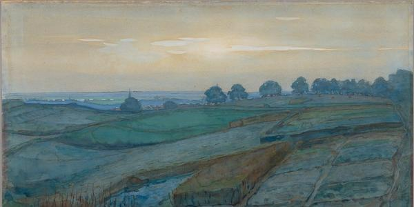 Landscape near Arnhem, 1900-01, Piet Mondrian.  Translucent and opaque watercolor over graphite on wove paper.  20 ½ x 29 7/16 in.  (52 x 71.5 cm).  The J.  Paul Getty Museum