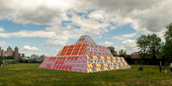 Rendering of Jeffrey Gibson's 'Because Once You Enter My House It Becomes Our House' in the Park's landscape; Courtesy the Artist, Socrates Sculpture Park, Sikkema Jenkins & Co., New York; Kavi Gupta, Chicago; Roberts Projects, Los Angeles