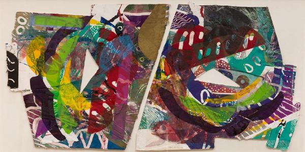 """Part of the """"Seeing Differently"""" exhibition, Sam Gilliam, Purple Antelope Space Squeeze, 1987, Diptych: Relief, etching, aquatint and collagraph on handmade paper with embossing, hand-painting and painted collage, 41 1/2 in x 81 5/8 in., The Phillips Collection, Bequest of Marion F.  and Norman W.  Goldin, 2017"""