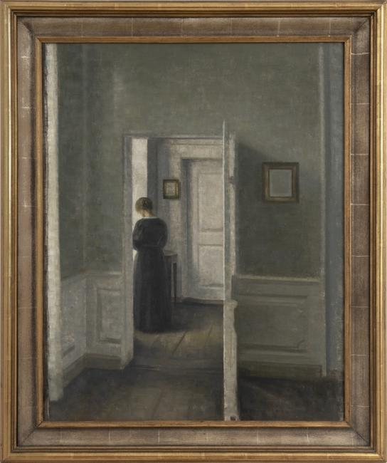 Priced around $5 Million, this Vilhelm Hammershøi, Interior with a woman standing, 1913, was sold by Di Donna Galleries.