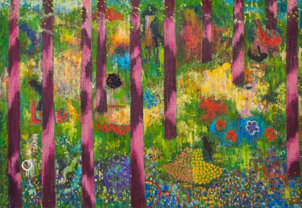 "Michael Harvey, If you go down to the woods today, 2020, acrylic on canvas, 46"" x 68."""