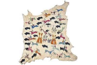 Cadzi Cody Shoshone Painted Hide Collected by Ervin F.  Cheney - est.  $100,000/120,000