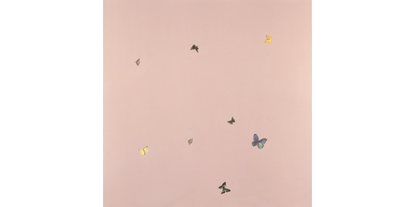 Damien Hirst, In and Out of Love (Butterfly Paintings and Ashtrays) (detail), 1991, © Damien Hirst and Science Ltd.  All rights reserved / DACS, London / ARS, NY 2020.