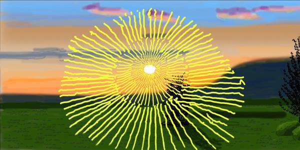 """Still from David Hockney's """"Remember you cannot look at the sun or death for very long,"""" a 2020 iPad work."""