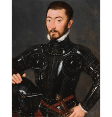 Attributed to Gillis Claeissens, Portrait of a Man in Armour , circa 1560.  Oil on panel .  32.7 x 25 cm (12.9 x 9.8 in.).  Presented at TEFAF Online 2021 by Caretto & Occhinegro and acquired by Groeningemuseum, Belgium.