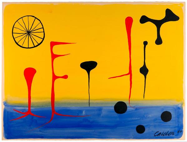 ON THE BLUE SWAMP by ALEXANDER CALDER (Lawnton, 1898 - New York, 1976).  Gouache on paper, 58 x 78 cm (22.8 x 30.8 in.) Signed and dated lower right corner 'Calder '66' 1966.