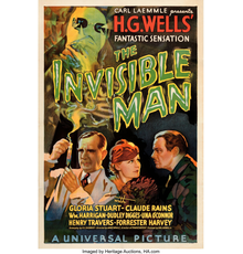 """Rare movie poster for the 1933 """"The Invisible Man"""" sold for $182,400."""