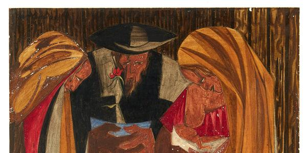 """Jacob Lawrence panel, """"Immigrants admitted from all countries: 1820-1840—115,773,"""" was discovered in a Manhattan home where it hung for two decades.  The Jacob and Gwendolyn Knight Lawrence Foundation, Seattle/Artists Rights Society (ARS), New York; via Peabody Essex Museum"""