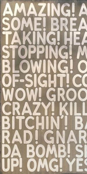 From Fraenkel Gallery, Booth #105, MEL BOCHNER, Amazing, 2018, etched and silvered glass, 24 x 32 inches.