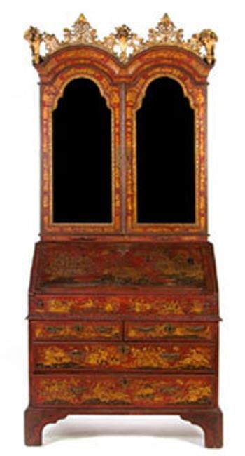 A George II red lacquered secretary consigned by the High Museum of Art in Atlanta sold for an astounding $207,400.