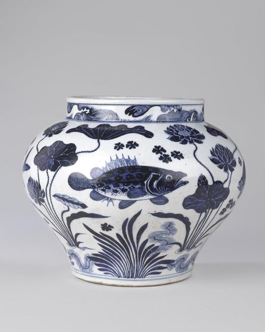 Wine Jar with Fish and Aquatic Plants, 14th century.  Porcelain with underglaze cobalt blue decoration, 11 15/16 x 13 3/4in.  (30.3 x 34.9cm).  Brooklyn Museum, The William E.  Hutchins Collection, Bequest of Augustus S.  Hutchins, 52.87.1.