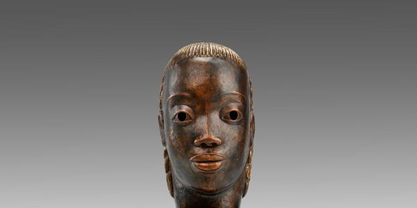 Sargent Johnson, Mask , ca.  1930 - 1935, copper on wood base.  Smithsonian American Art Museum, gift of International Business Machines Corporation.