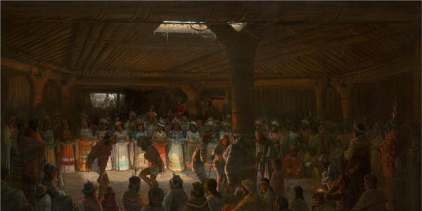 """Jules Tavernier (American, born France, 1844–1889).  """"Dance in a Subterranean Roundhouse at Clear Lake, California"""", 1878.  Oil on canvas, 48 × 72 1/4 in.  (121.9 × 183.5 cm).  The Metropolitan Museum of Art, New York, Marguerite and Frank A.  Cosgrove Jr.  Fund, 2016 (2016.135)"""