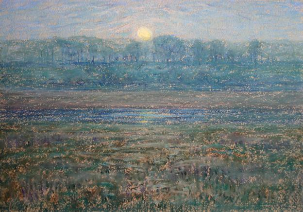 "Henry Cooke White (1861 - 1952) Moonrise, estate stamped lower left, pastel on paper, 10"" x 14 1/4"""