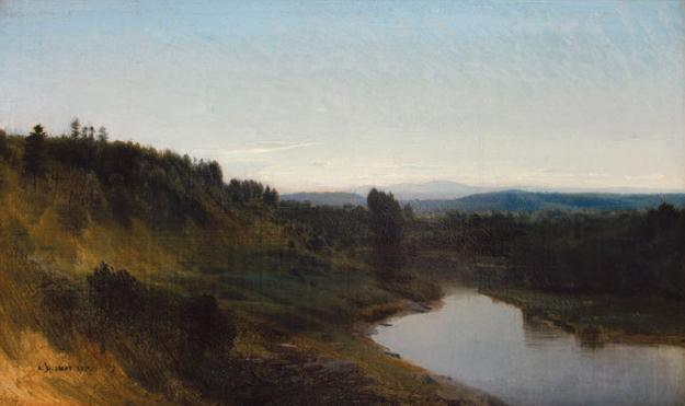 "Aaron Draper Shattuck (1832 - 1928) Evening in the River Valley, stamped lower left, oil on canvas laid down on board, 12"" x 19 7/8"" $24,000"