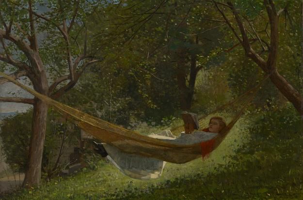 Winslow Homer, Girl in a Hammock, 1873, Oil on canvas, 21 x 27 1/8 inches, Colby College Museum of Art, The Lunder Collection.