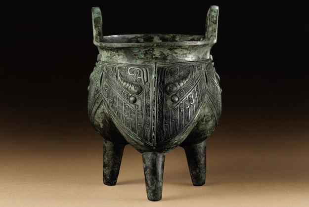 One of the most famous bronzes in the collection is the striking 'li', a ritual tripod vessel for cooking grains or meat, from the late Shang dynasty, 12th century BC.  Photo: Christie's Images Ltd., 2010.