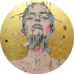 'Chloe' by Marco Grassi, Oil and resin on aluminium, 24 k gold leaf, 2020 (150cm)