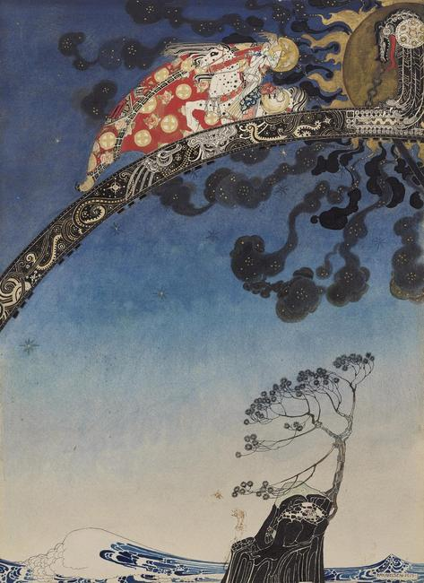 Illustration from East of the Sun and West of the Moon.  Kay Nielsen, 1913.  Transparent and opaque watercolor, pen and brush and ink, gesso and metallic paint, over graphite.  Promised gift of Kendra and Allan Daniel.  Courtesy, Museum of Fine Arts, Boston.
