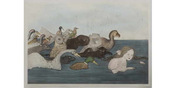 """Kiki Smith, American (born Germany), born 1954; """"Pool of Tears II (after Lewis Carroll)"""", 2000; etching, aquatint, drypoint, and sanding with watercolor additions; plate: 47 1/2 x 71 3/4 inches, sheet: 51 x 74 3/4 inches.  © Kiki Smith / Universal Limited Art Editions, courtesy Pace Gallery"""