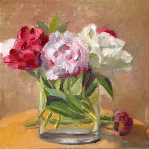 "Patricia C.  Kitchings Garden Peonies signed oil on canvas 12"" x 12"""