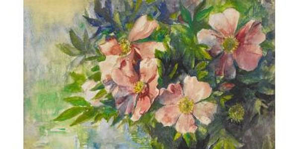 EXPANDFAVORITE Wild Roses and Water Lily - Study of Sunlight, ca.  1883, by John La Farge (1835 - 1910)