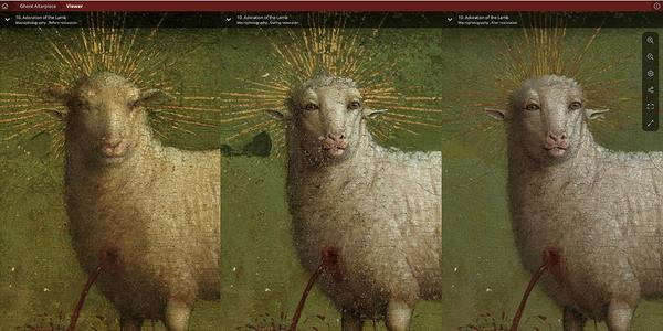 The Lamb of God on the central panel, from left to right: before restoration (with the 16th-century overpaint still present), during restoration (showing the van Eycks' original Lamb from 1432 before retouching), after retouching (the final result of the restoration)