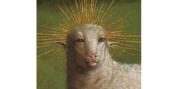 """Detail, The Lamb of God on the central panel of The Ghent Altarpiece.  A restoration and the website Closer to Van Eyck revealed """"shocking"""" details like the lamb's """"humanoid"""" eyes."""
