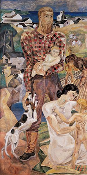 Marguerite Thompson Zorach, Land and Development of New England, 1935, Oil on canvas, 96 x 76 in Collection of the Farnsworth Art Museum, Rockland, Maine; Museum purchase, 1991.1