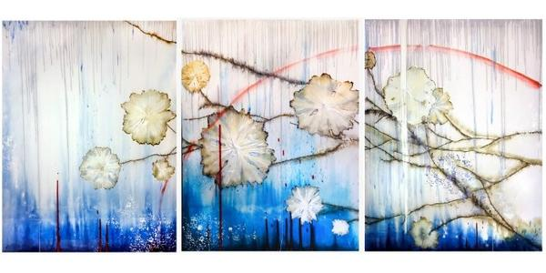 Approaching the Singularity (2019), by Mira Lehr.  Burned Japanese paper, acrylic, ink and resin on canvas