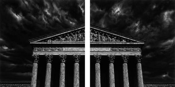 Robert Longo, Untitled (The Supreme Court Of the United States (Split)), 2018.  Charcoal on mounted paper, 120 x 140 inches.  Courtesy of the artist; Metro Pictures, New York; Jeffrey Deitch, Los Angeles; and Pace Gallery.