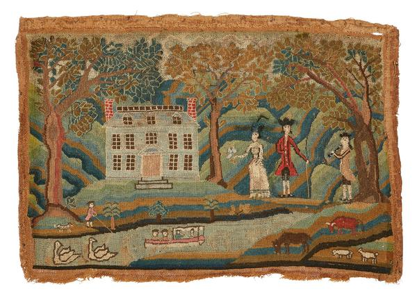 An 18th century Boston canvas work picture (Lot 5, $35,000)