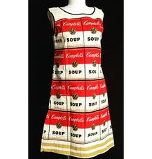 "Back in 1966-67, the ""Souper"" dress, inspired by the famous Soup Can art series by Andy Warhol, married art and advertising when paper dresses were in vogue.  If one mailed in two labels from Campbell's soup cans to the company along with $1, this dress was their reward."