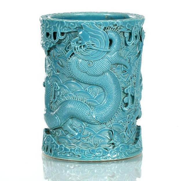 A Chinese, heavily carved porcelain, turquoise glazed, brush pot by Wang Bingrong, Jingdezhen Kilns, 1820-1870