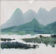This Shiy De-Jinn river landscape, a 1969 watercolor on paper, ($15/25,000) depicts the rolling mountains of Taiwan and misty waterways are splashed in cool blues and greens, 18 ¾ by 24 ¾ inches.