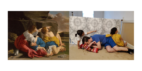 Lot and His Daughters, about 1622, Orazio Gentileschi.  Recreation on Twitter by Qie Zhang, Erik Carlsson, and their daughters.