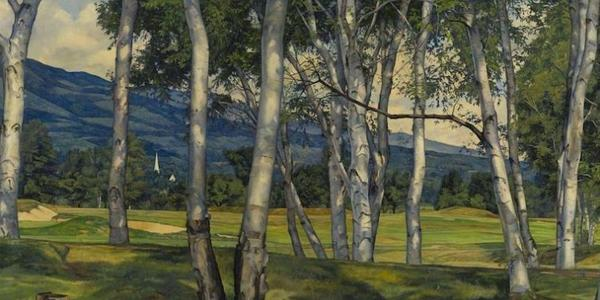 """The exhibit includes the painting """"The Birches,"""" 1940, by Luigi Lucioni.  Image courtesy The Collection of Lyman Orton and the Vermont Country Store"""
