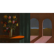 """Helen Lundeberg, """"Flowers and Arches,"""" 1943, Initialed and dated """"HL '43"""" lower left, Oil on board, 4 x 7.25 inches, Exhibited: Los Angeles Art Association, """"Contemporary Women Artists,"""" Los Angeles, CA, ca.  mid-1940s; Gallery of Mid-Century Art, Los Angeles, CA, 1947; Chaffey College, Rancho Cucamonga, CA, 1950"""