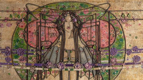 DETAIL: Margaret Macdonald Mackintosh, The May Queen, Panel for the Ladies' Luncheon Room, Ingram Street Tearooms, Glasgow, 1900.  Gesso, hessian, scrim, twine, glass beads, thread, mother-of-pearl, tin leaf.