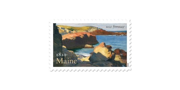 Maine Statehood stamp featuring Edward Hopper's Sea at Ogunquit (1914).