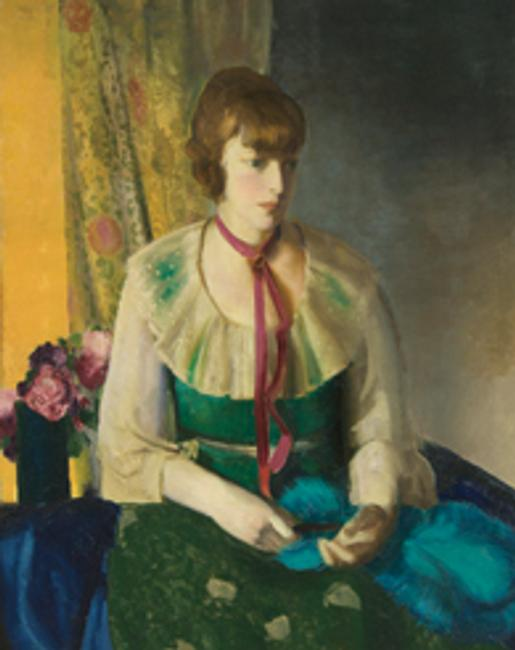 A George Wesley Bellows painting, Lady in a Green Dress, is expected to sell for $70,000 to $90,000.